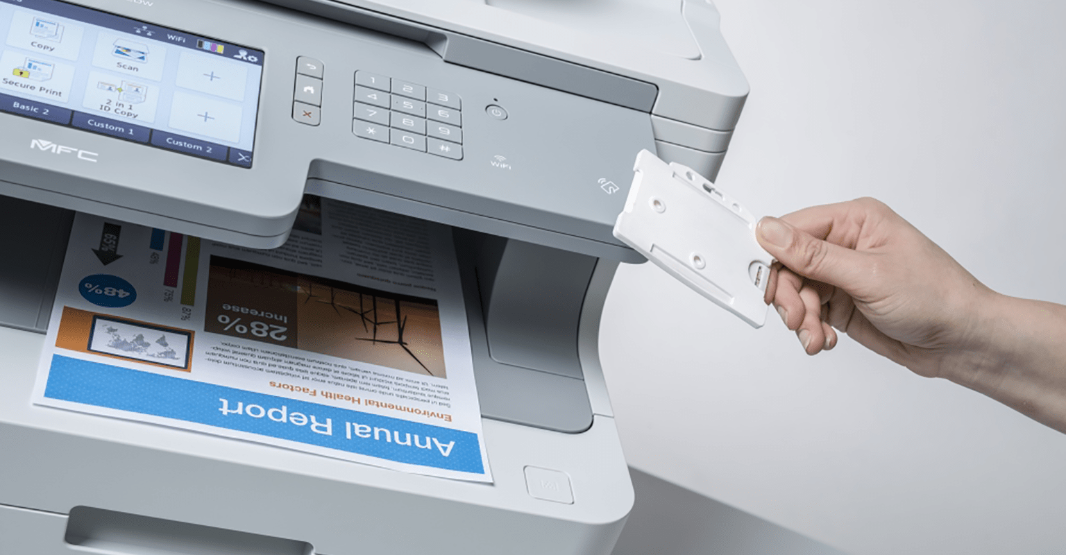 Person using card to access Brother printer