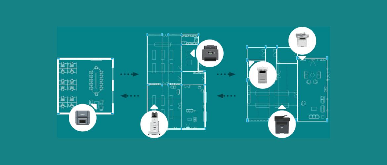 spazi di uffici schematizzati con dispositivi di stampa Brother