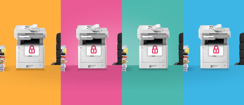 Stampanti Brother stampano un foglio con simbolo del lucchetto rosso