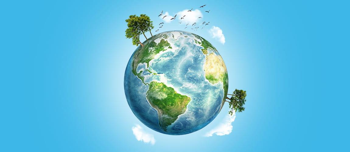 mappamondo sostenibile con alberi verdi
