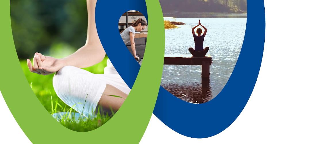 donne che praticano yoga su un molo e in un prato