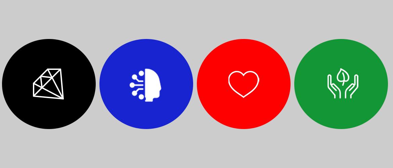 cerchi colorati con icone significato