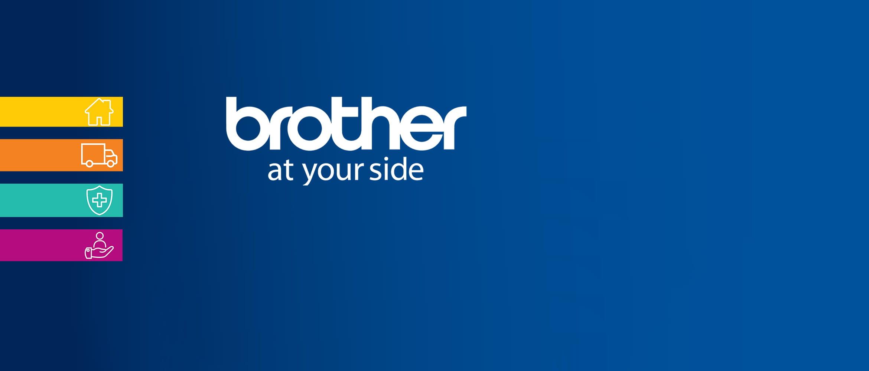 logo brother at your side su sfondo blu con icone