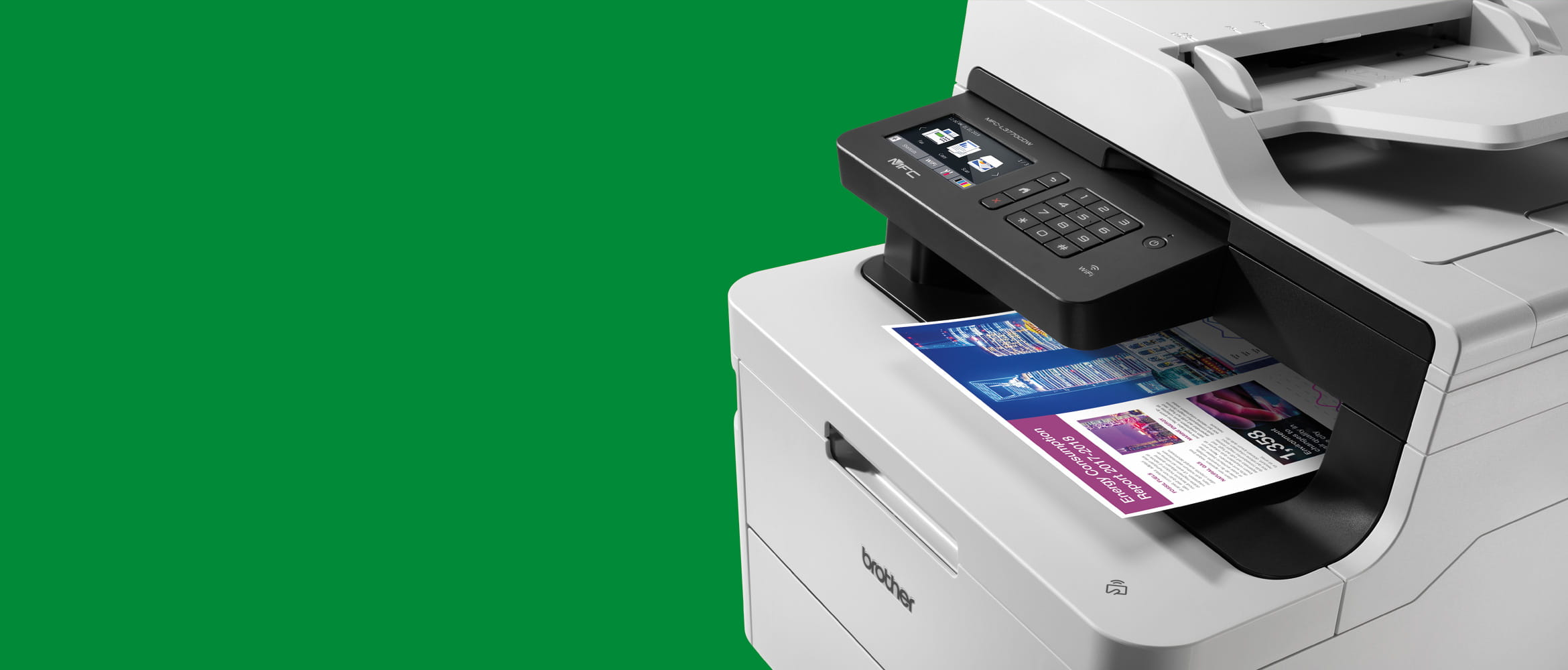 Brother colour MFC-L3770CDW printer on green background