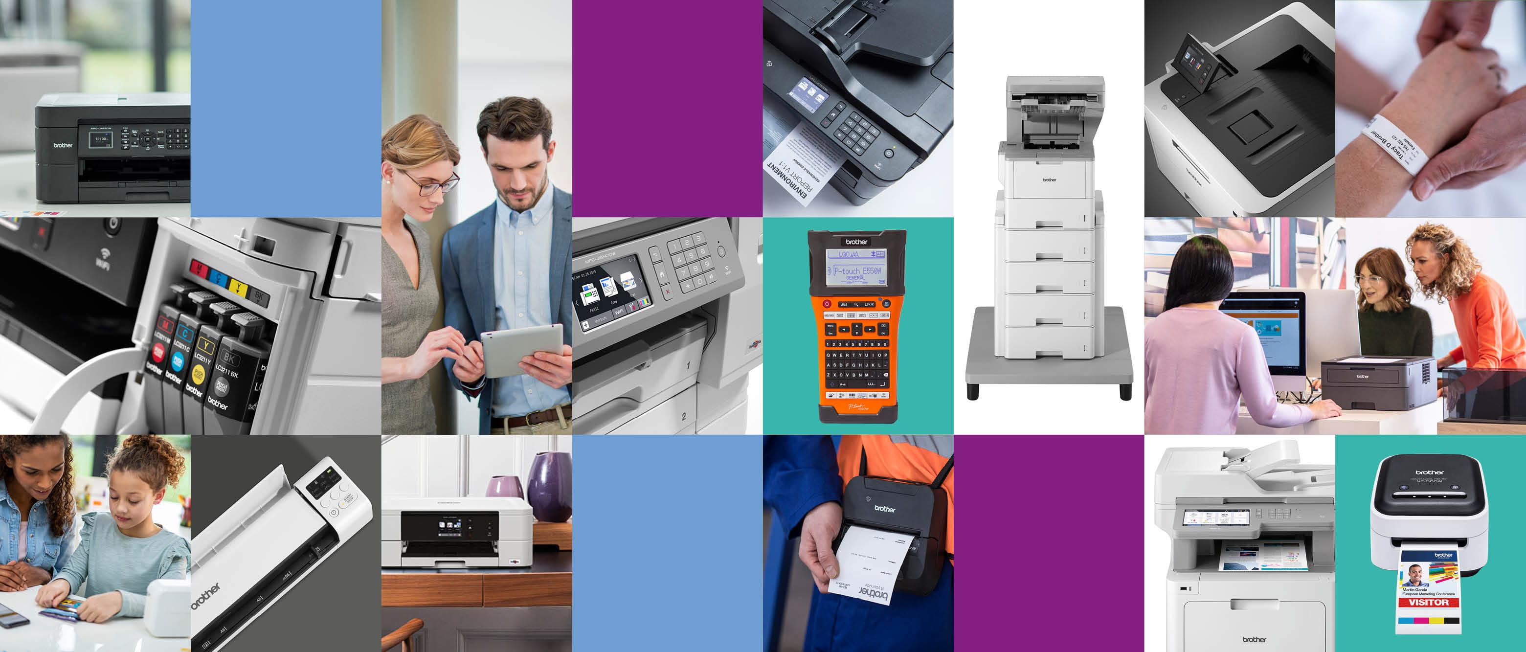 immagini di stampanti, etichettatrici, stampanti portatili e persone