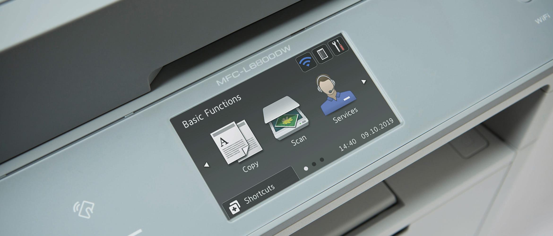 Tre icone sullo schermo della stampante Brother MFC-L6800