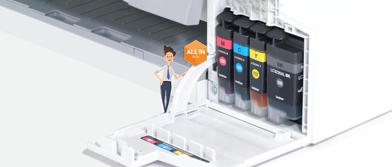 stampante inkjet Brother con 4 cartucce XL e logo All-in-box