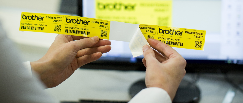 Etichetta gialla stampata da etichettatrice Brother PTP900W