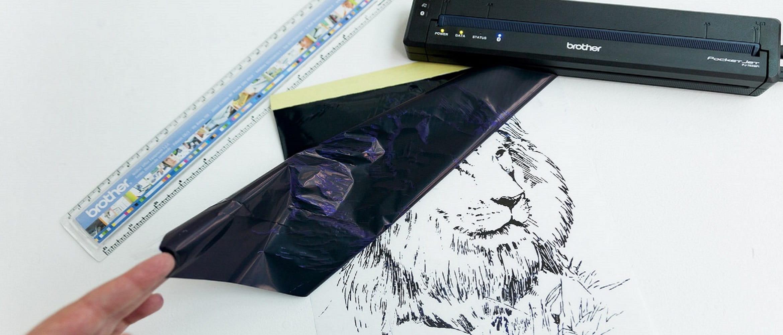 Stencil con leone per tatuaggio stampato con la stencil machine Brother PocketJet