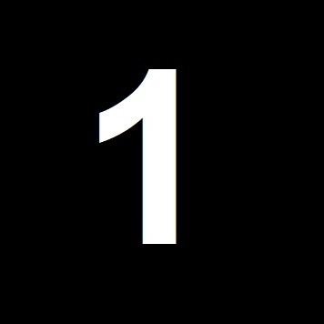 Numero 1 su sfondo nero