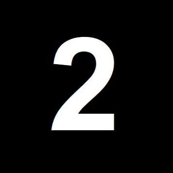 Numero 2 su sfondo nero