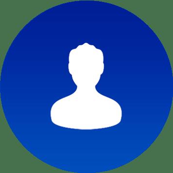 Icona account bianca su sfondo blu