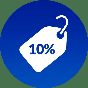 Simbolo sconto 10 per cento
