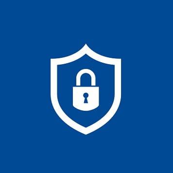 Icona garanzia con scudo e lucchetto