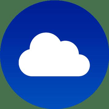 Icona cloud bianco su blu