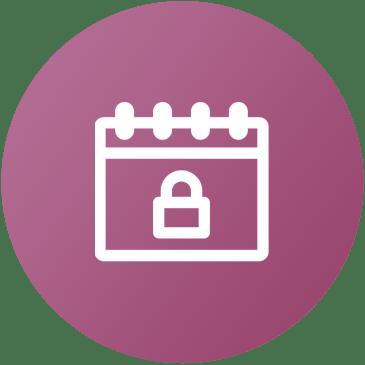 Icona con simbolo calendario e lucchetto sicurezza