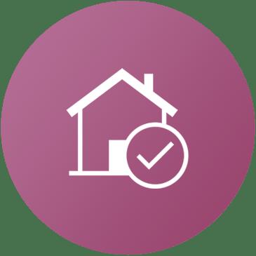 Icona rosa con casa