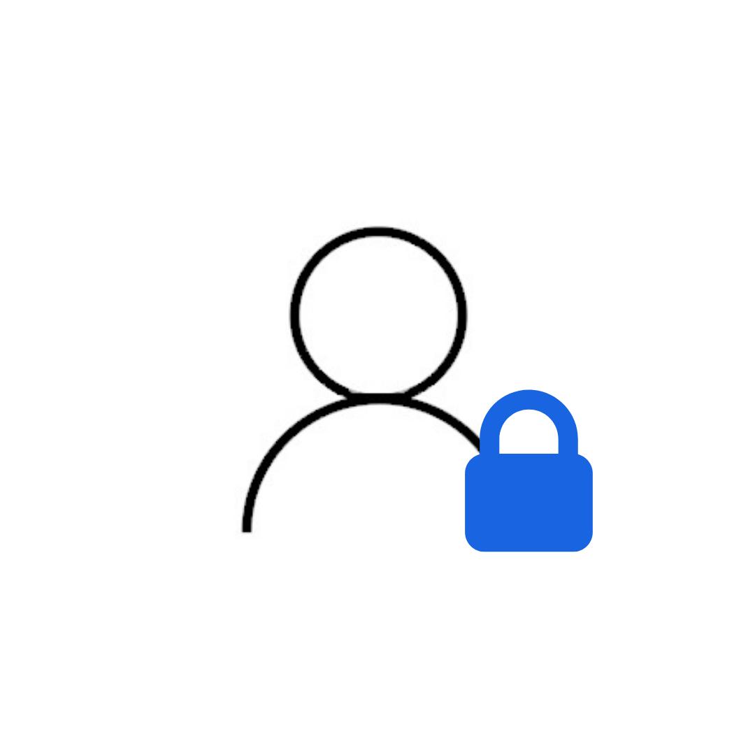 icona gestione visitatori con utente e lucchetto