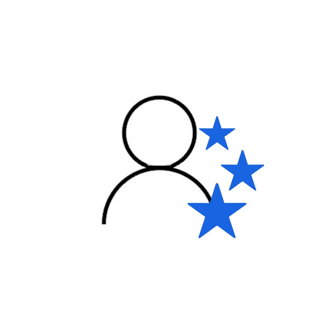 icona gestione visitatori con utente e stelle per un'ottima prima impressione