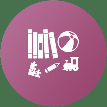 icona con libri e giochi