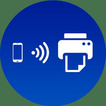Icona con simbolo telefono, onde e stampante su sfondo blu
