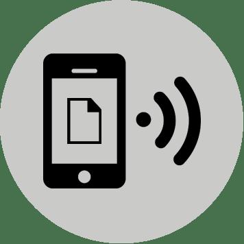 Icona con testo inviato tramite dispositivo mobile