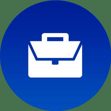 Icona valigetta 24 ore su sfondo blu