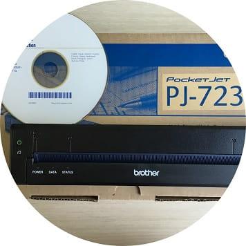 Stampante portatile Brother PocketJet con CD installazione e confezione