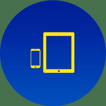 Icona smartphone e tablet gialla