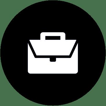 Icona valigetta bianco su nero