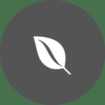 Icona foglia per sostenibilità su sfondo grigio