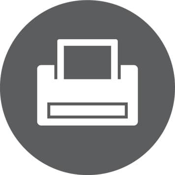 Icona stampa su sfondo grigio