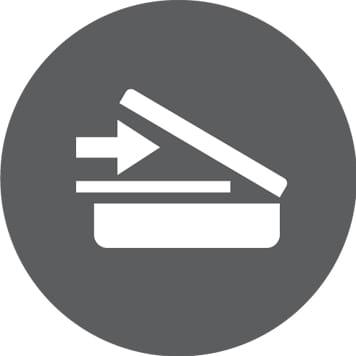 Icona scansione su sfondo grigio