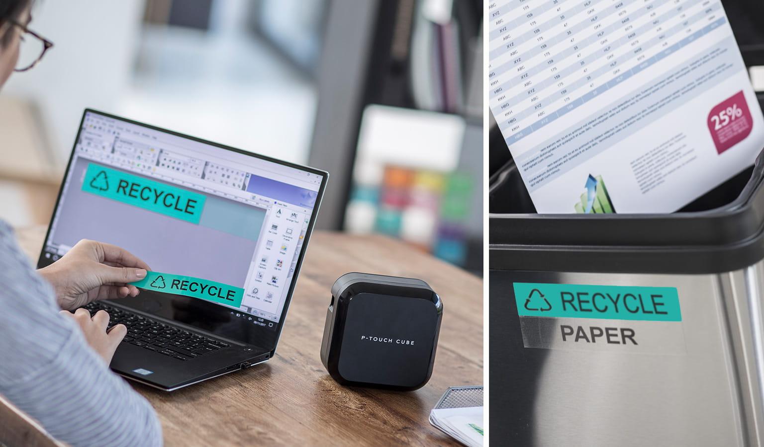 Uomo progetta etichetta sul proprio PC e la stampa con Brother P-touch