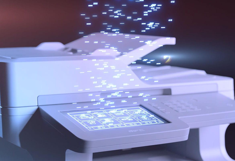 Brother MFC-L9570CDW con elementi che escono dal display touchscreen