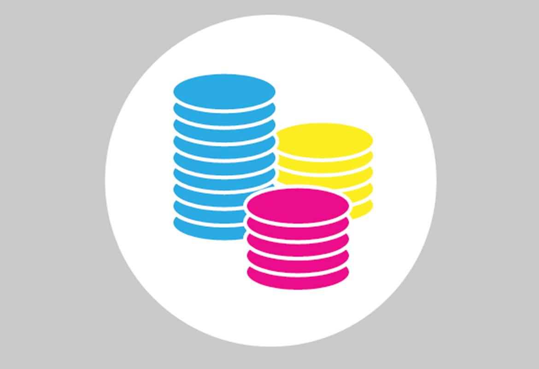 Icona con monete colorate