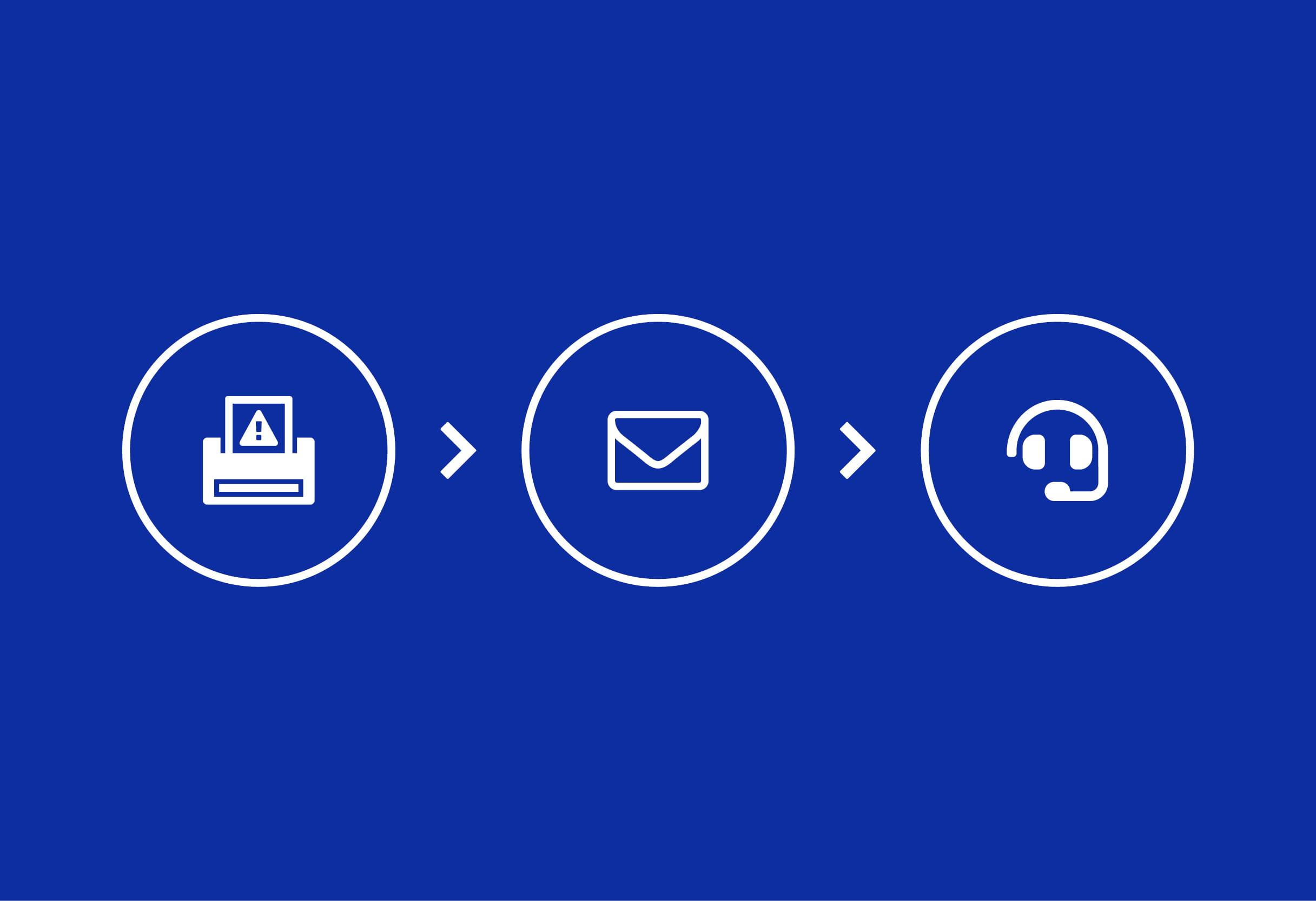 Printer icon email icon spanner icon