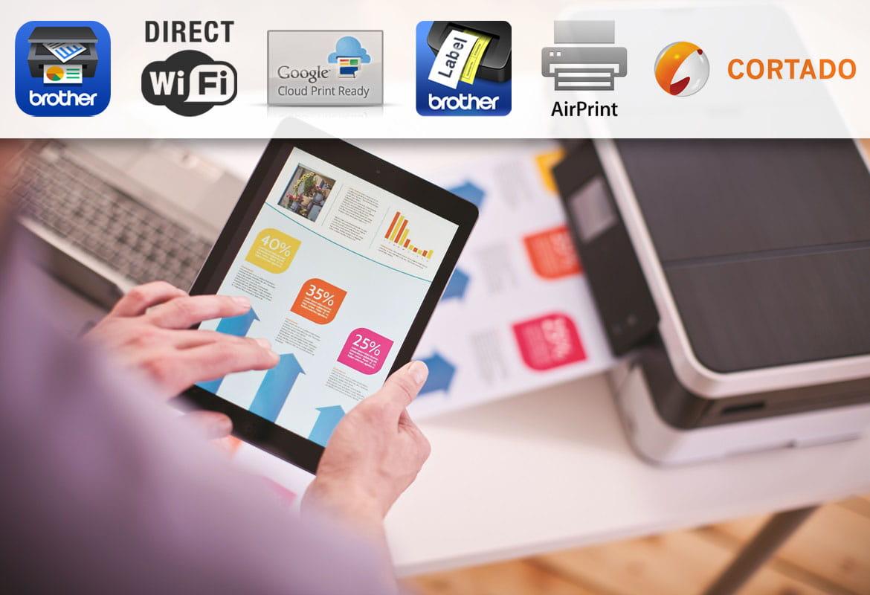 Stampa da tablet con stampante multifunzione inkjet Brother MFC-J4420DW con loghi applicazioni