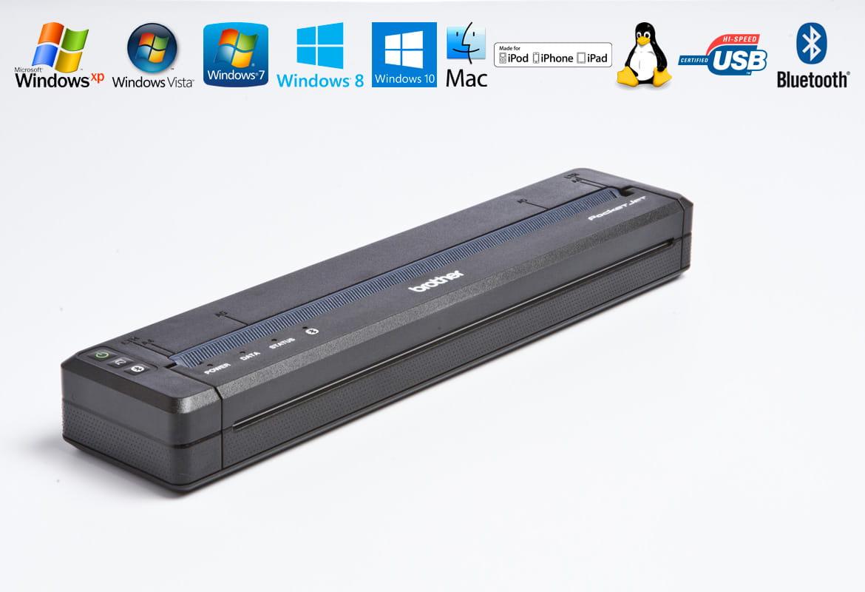 Stampante portatile Brother PJ-763MFi con icone funzionalità