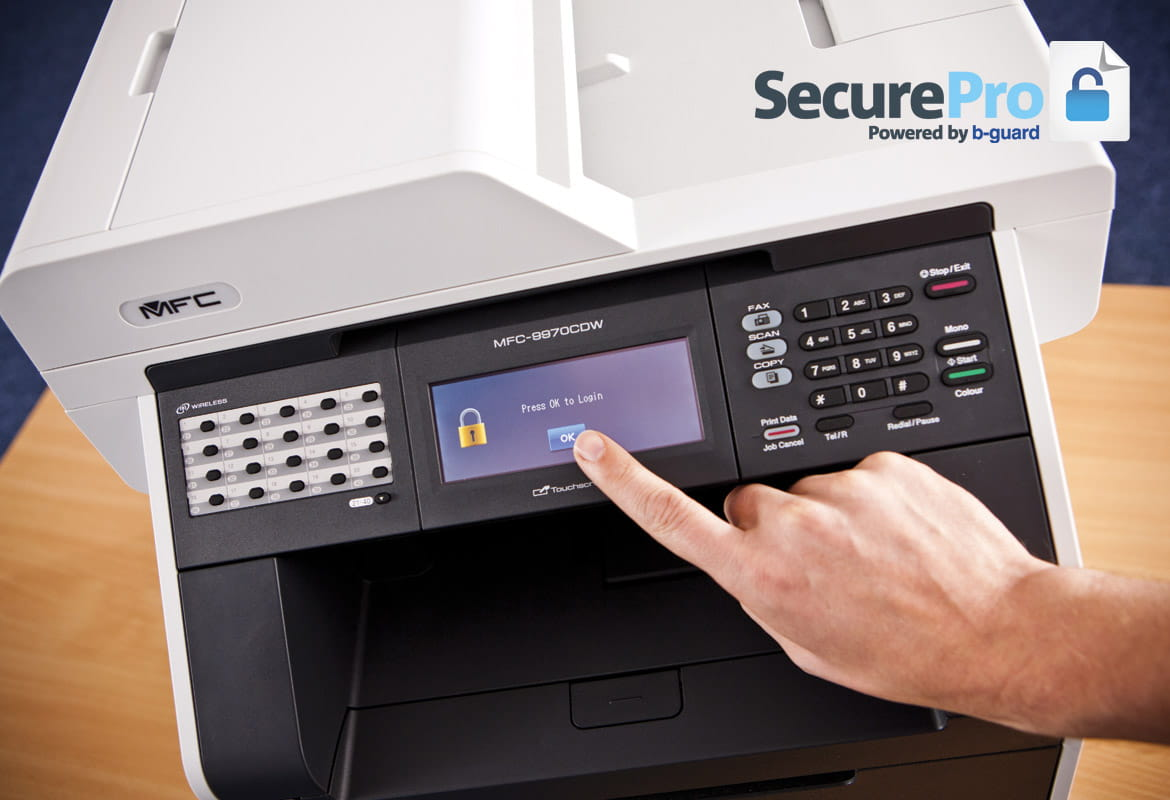 Stampante multifunzione Brother con software SecurePro powered by b-guard