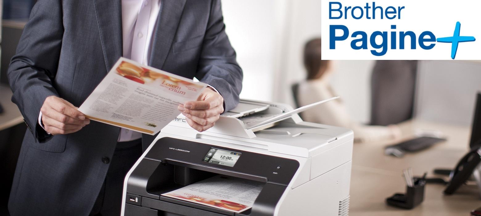 Stampante multifunzione Brother con logo servizio stampa gestita Pagine+