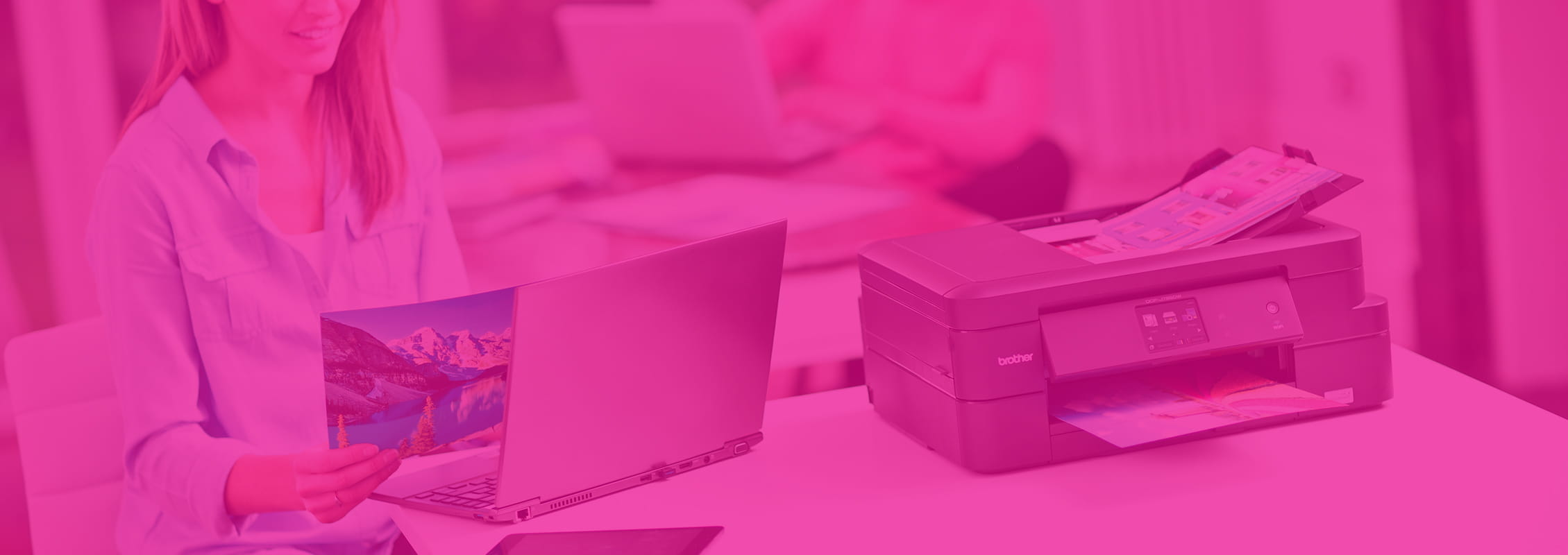 Foglio stampato con stampante multifunzione a getto di inchiostro Brother con tecnologia Inkbenefit