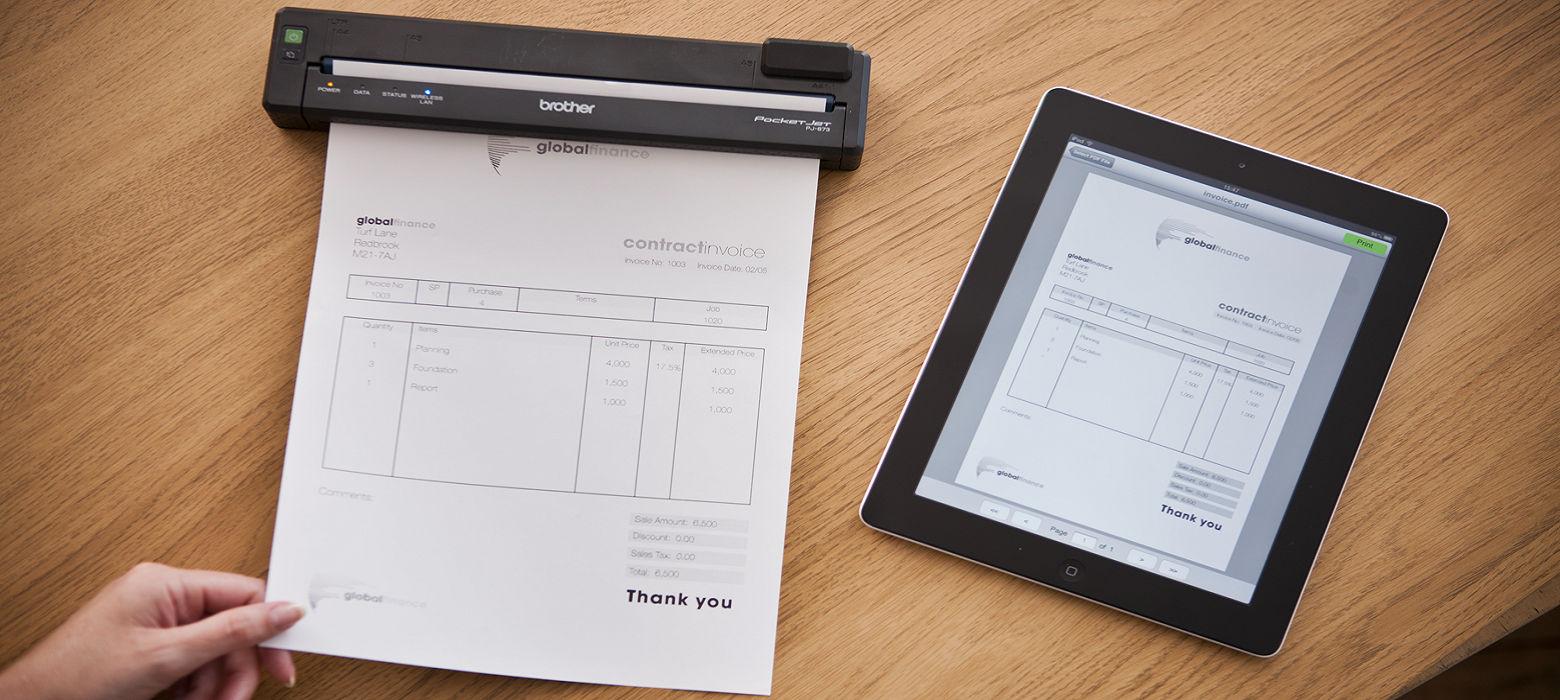 Foglio stampato da tablet tramite stampante portatile Brother PJ-673