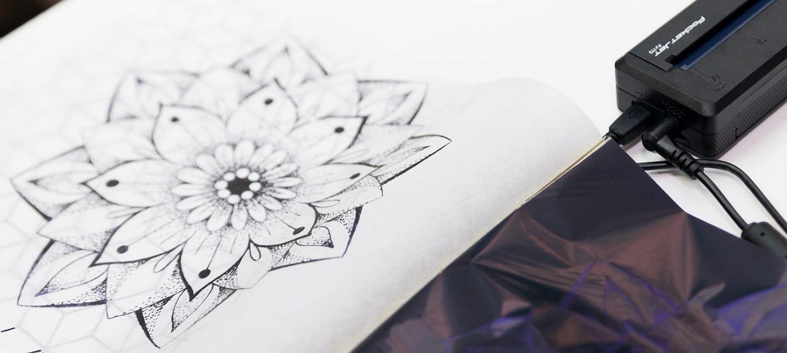 Stencil per tatuaggio con fiore stampato con Brother Stencil Machine PJ-723