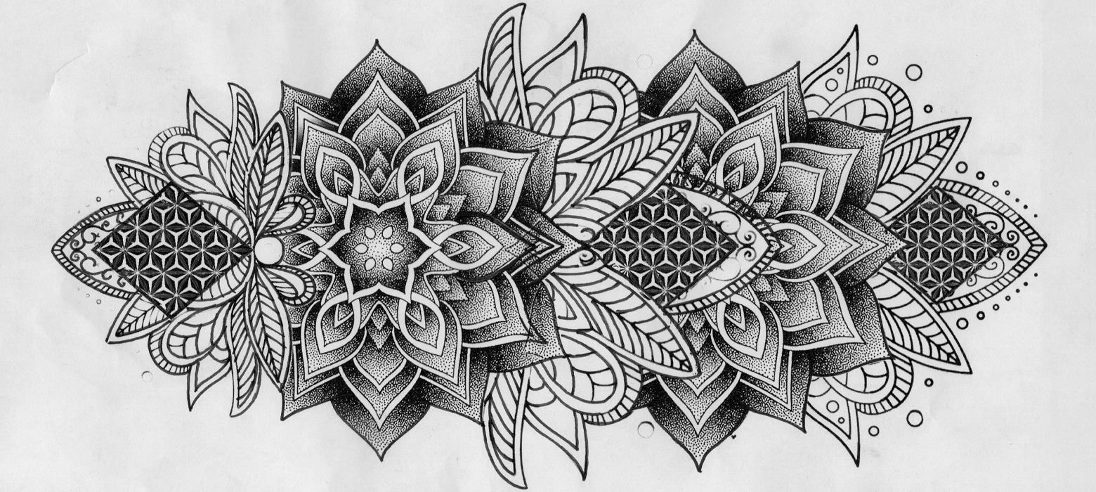Tattoo geometrico stampato con la stencil machine Brother PJ-723
