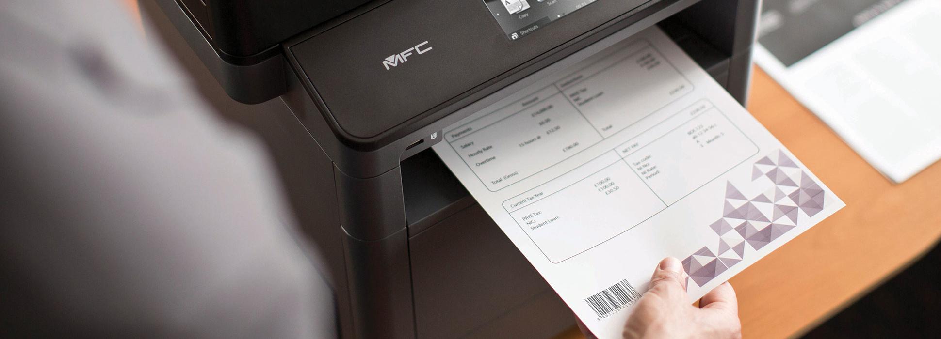 Stampante laser monocromatica Brother MFC-L5700DN stampa documento con codice a barre