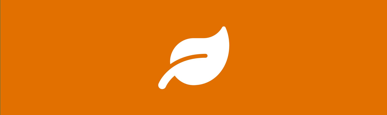 icona foglia per tutela ambientale con sfondo arancione