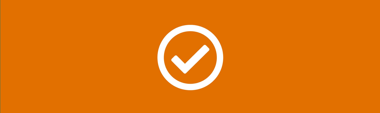 icona spunta stilizzata su sfondo arancio