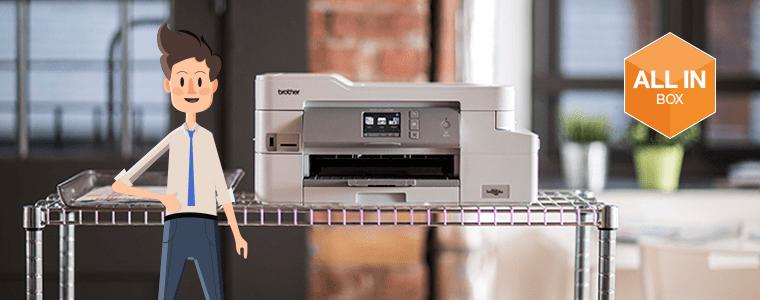 stampante inkjet Brother DCP-J1100DW e logo All-in-box sullo sfono