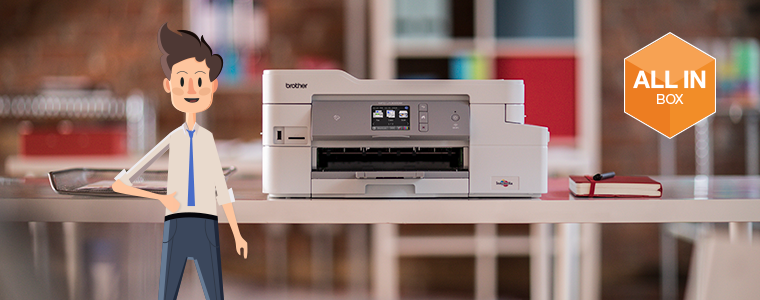 stampante inkjet Brother MFC-J1300DW con logo All-in-box